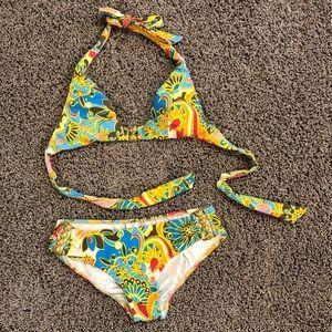 Trina Turk bikini with halter top & gold detail